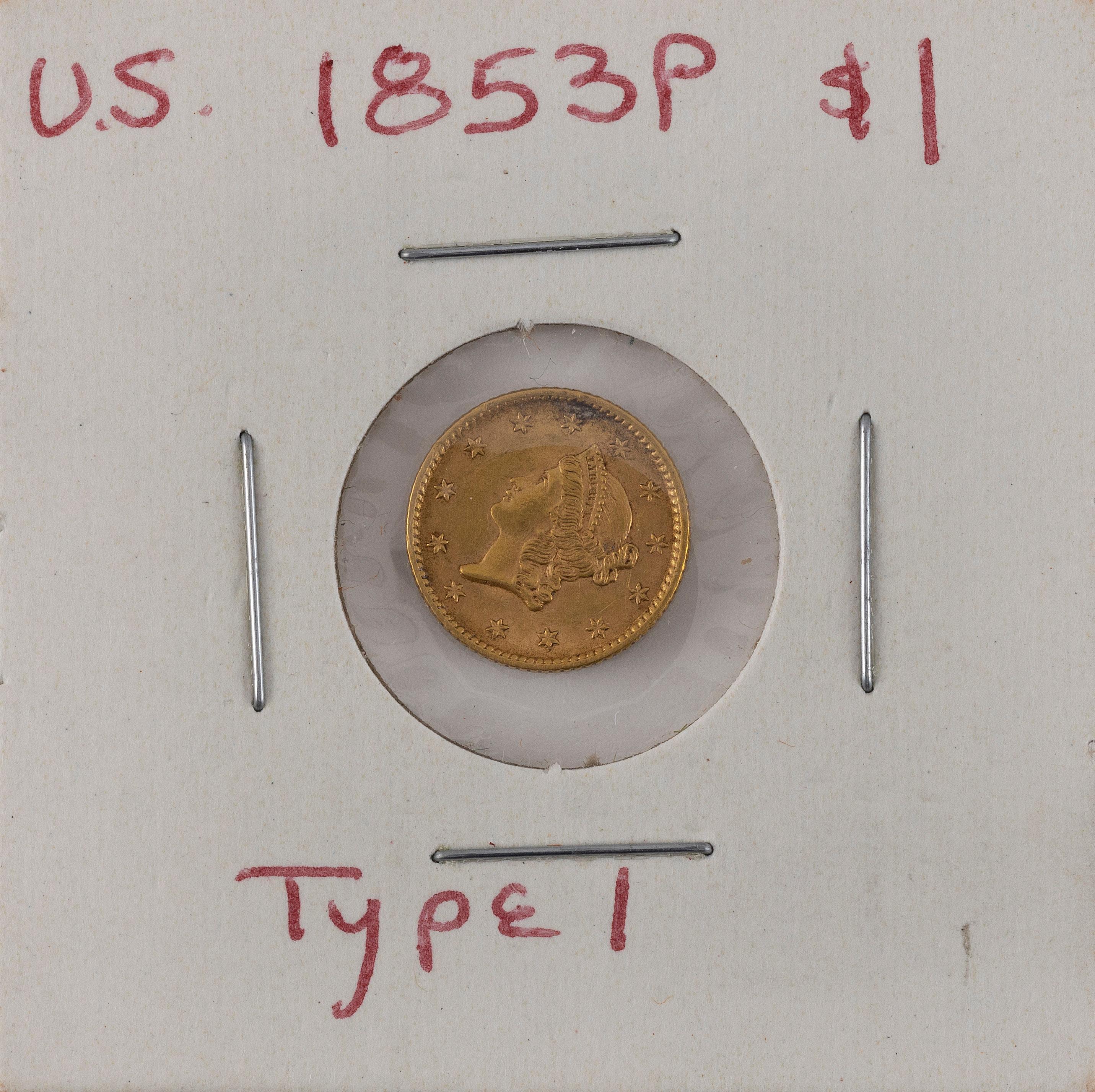 U.S. 1853 ONE-DOLLAR GOLD PIECE Type I. VF.