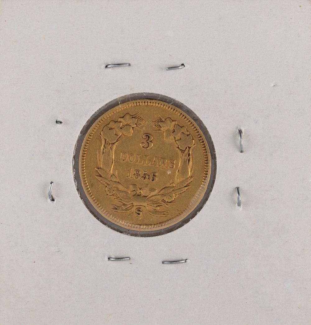 U.S. 1856-S THREE-DOLLAR GOLD PIECE