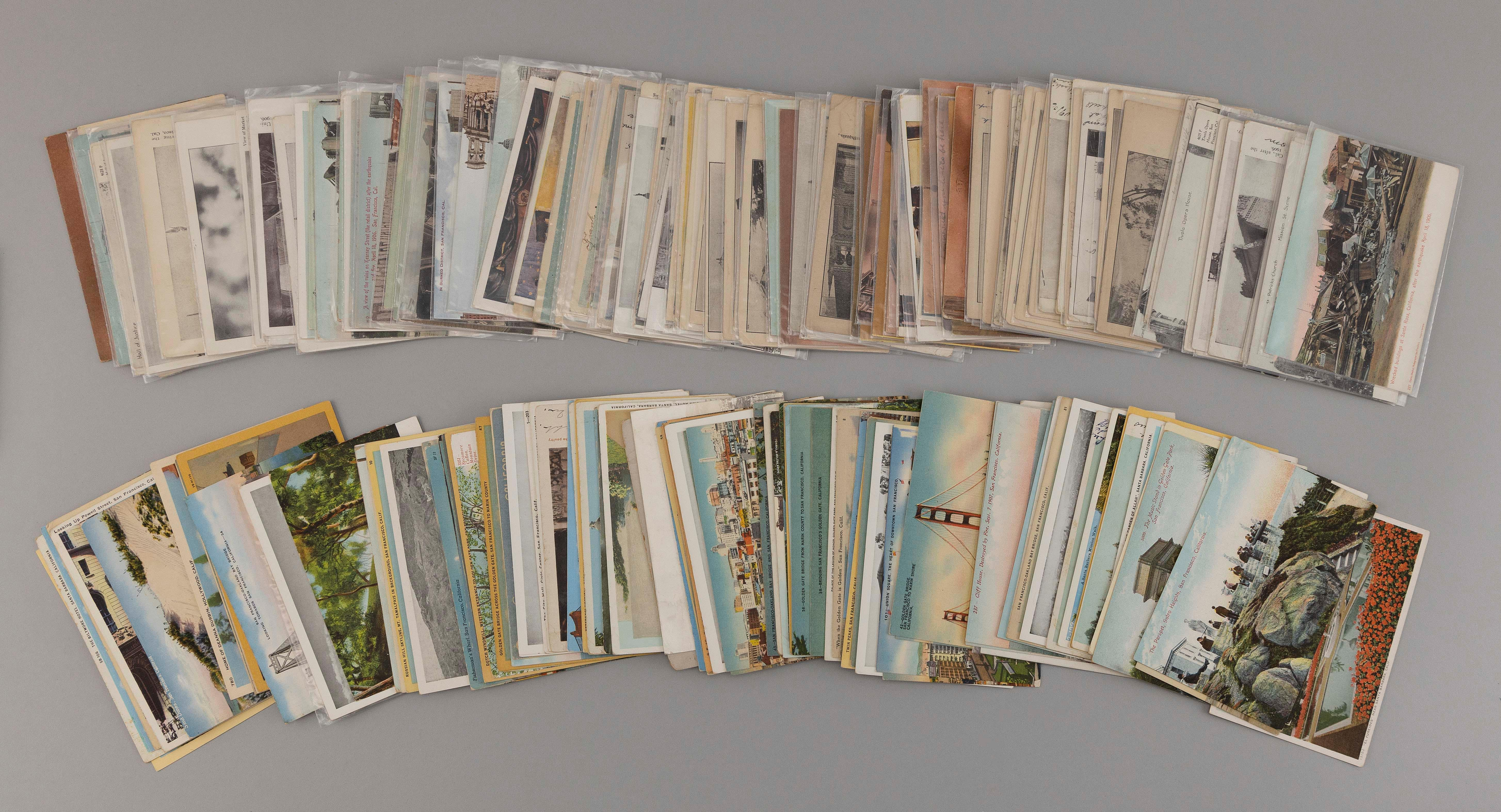 (CALIFORNIA AND EARTHQUAKE) 223 POSTCARDS General subject views and life. Includes 115 cards of the 1906 quake: newspaper-issue, car...