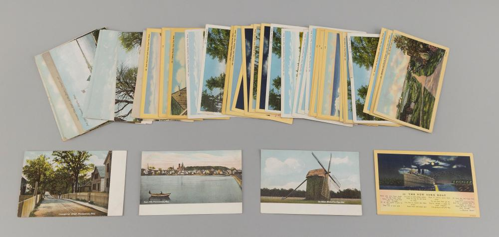 (CAPE COD) 57 POSTCARDS 19 early views: Rotographs of Railroad Wharf, Cottage City and Edgartown. Leightons of Town Hill, Hyannispor...