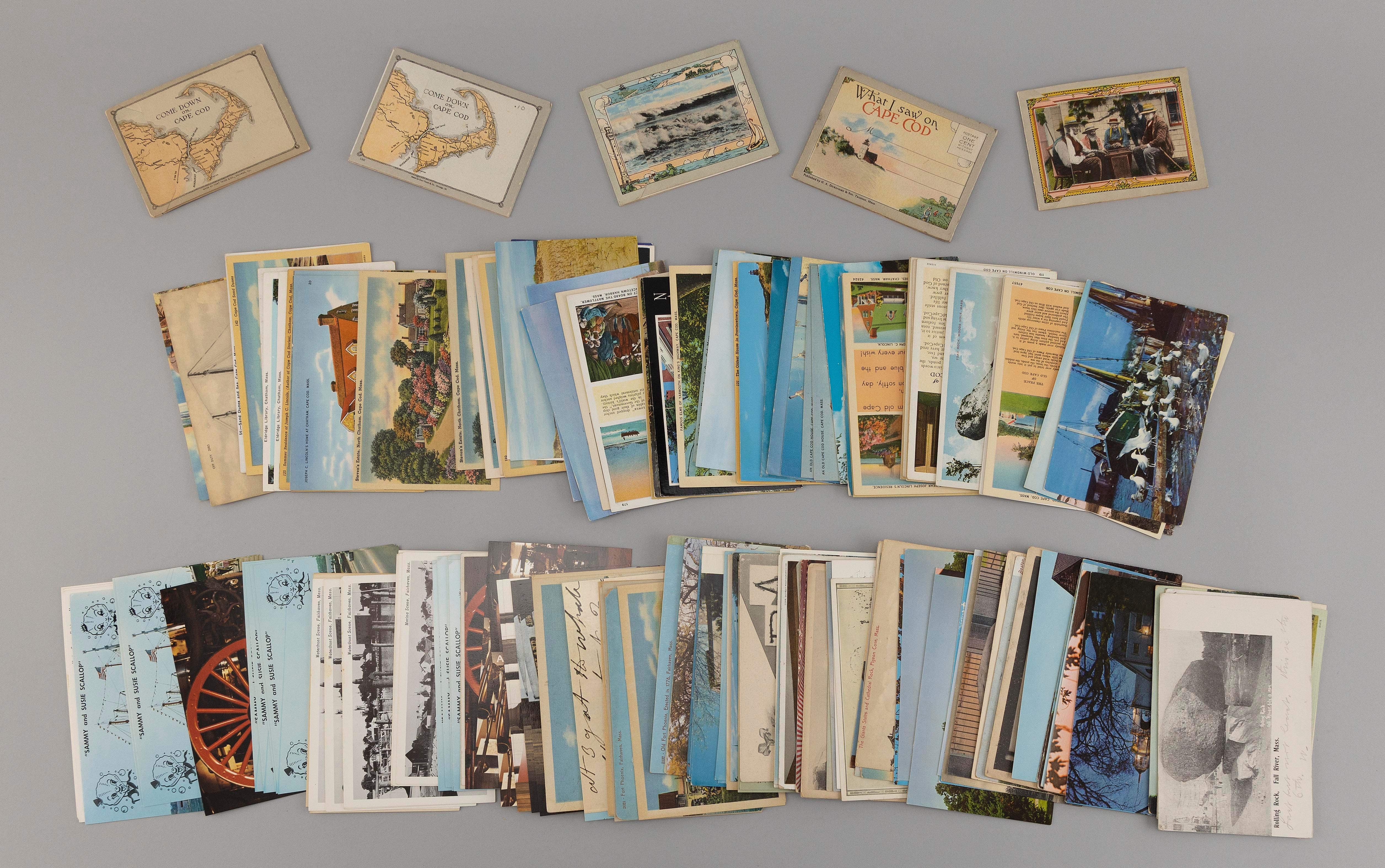 (CAPE COD AND MASSACHUSETTS) 189 POSTCARDS Includes 68 general subject and views of Cape Cod cards, with five small folders and 121...