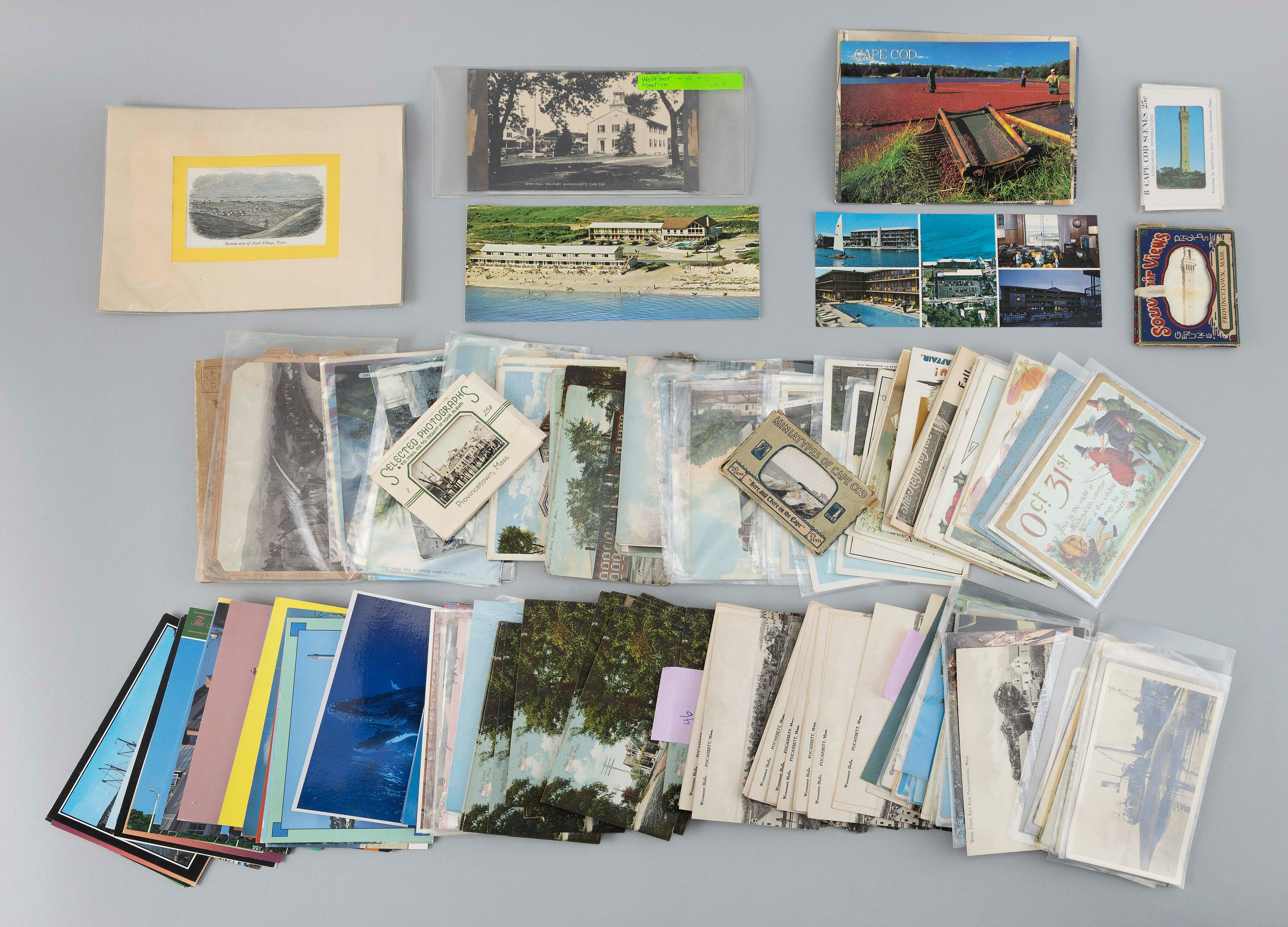 (VIEW: CAPE COD AND U.S.) APPROX. 225 POSTCARDS AND EPHEMERA Cape Cod: 162 postcards and four small postal packets. Includes: real p...
