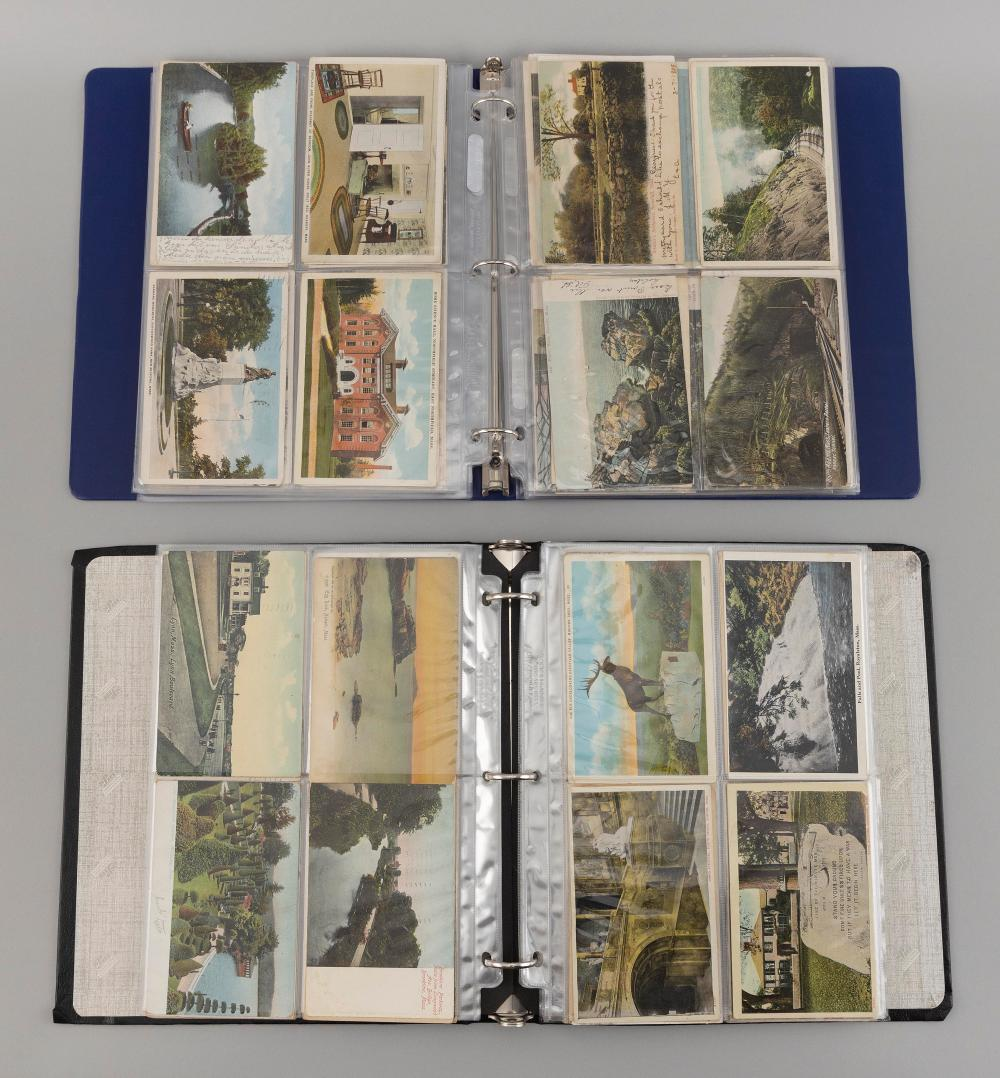 (MASSACHUSETTS) 272 POSTCARDS Contained in two albums. Early: Cambridge views, Rotographs of Egg Rock, Forest Lake in Palmer and oth...