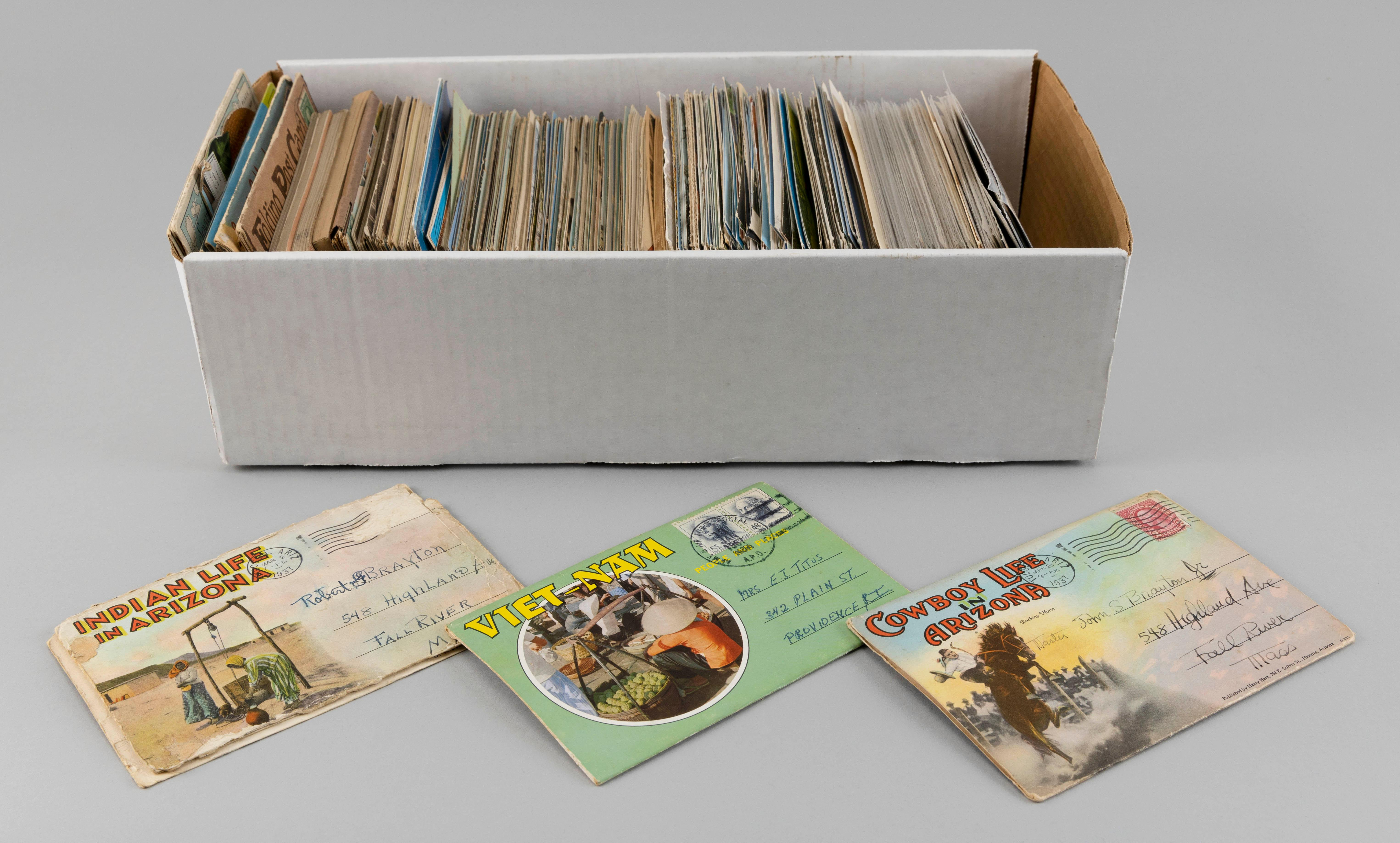 (FOREIGN) APPROX. 600 POSTCARDS In a postcard box. Includes: 82 incline railroads, shipping and transportation themes, recreation (h...