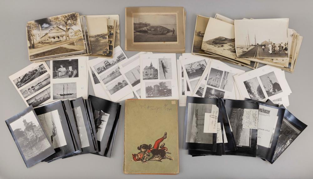 BOX LOT OF PROVINCETOWN EPHEMERA Large group of mostly black and white photographs of iconic Provincetown scenes and subjects. Sever...