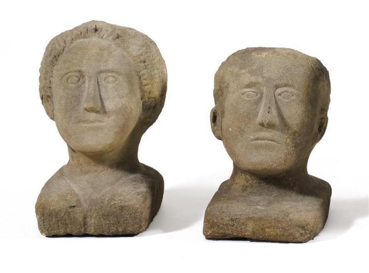 Silvio zoratti italy ohio pair of carved stone