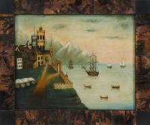FRAMED PAINTING: ARTIST UNKNOWN Depicting ships off the coast with a fortified castle and mountains. Likely a contemporary primitive...
