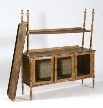 PINE ÉTAGÈRE Upper section with two open shelves. Lower section with two wire doors. Height 54