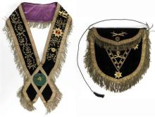 KNIGHTS TEMPLAR GRAND COMMANDER APRON AND SASH Both in black velvet with gold-colored trim and fringe and purple backing. Sash with...