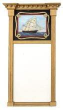 FEDERAL-STYLE MIRROR WITH REVERSE-PAINTED UPPER TABLET In gold paint. Upper tablet with reverse-painted decoration of a ship. Painte...