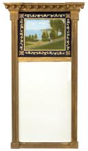 FEDERAL-STYLE MIRROR WITH REVERSE-PAINTED UPPER TABLET In gold paint. Upper tablet with reverse-painted decoration of figures in a l...