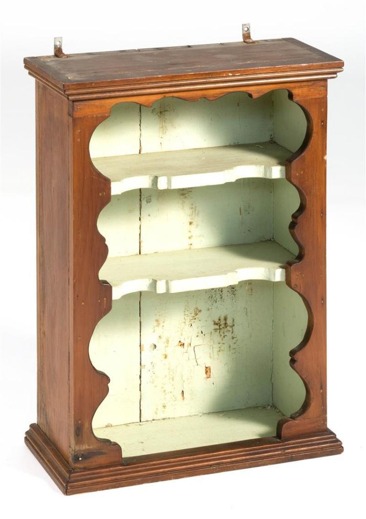 antique hanging shelf under brown paint with shaped border. Black Bedroom Furniture Sets. Home Design Ideas