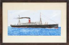 FRAMED WATERCOLOR: UNTRACED ARTIST Depicting the steamship Scandinavian. Signed lower right