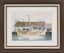 FRAMED WATERCOLOR: UNTRACED ARTIST Depicting a fishing trawler at dock. Signed lower right