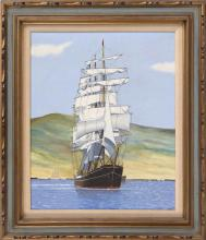 FRAMED PAINTING: UNTRACED ARTIST Depicting a full-rigged sailing ship. Signed