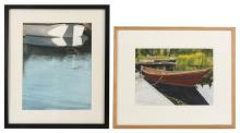 TWO FRAMED WATERCOLORS 1) A dory at dock. Signed lower left