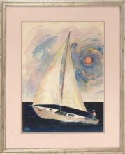 FRAMED WATERCOLOR: UNTRACED ARTIST A sailboat under colorful skies. Signed lower left
