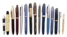 FIFTEEN ASSORTED PENS Ten fountain pens, four ballpoint pens (two Parker, one Platinum Pocket, Japan, and one Zebra, Japan), and a g...