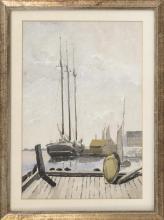 PROVINCETOWN SCHOOL, 20th Century, Schooner at MacMillan Wharf., Watercolor on paper, 19.75