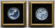 TWO BLUE AND WHITE PORCELAIN SAUCER DISHES With Orientalist scenes. Diameters 5