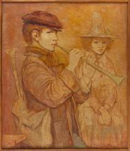 "ARTURO PILETTI, Italian, 20th Century, ""The Flute Player""., Oil on board, 27.5"" x 23.5"". Framed 28.5"" x 24.5""."