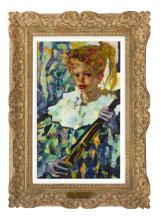 "LUIGI CORBELLINI, France/Italy, 1901-1968, Young girl with a cello., Oil on canvas, 24"" x 15"". Framed 33"" x 24""."
