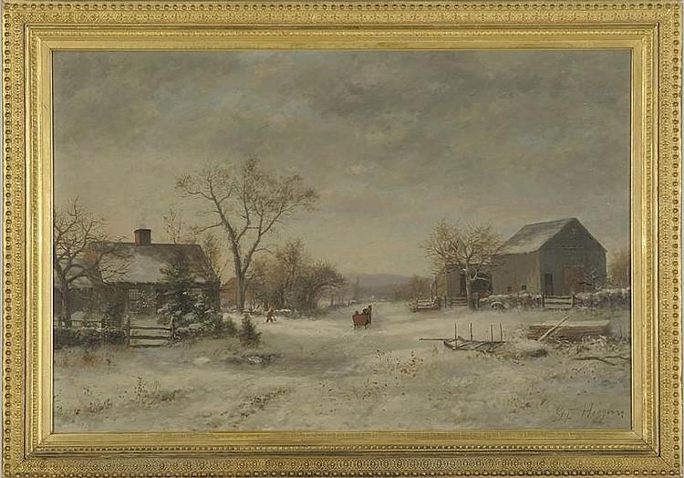 GEORGE FRANK HIGGINS, American, b. 1850, Winter farmyard scene., Oil on canvas, 20