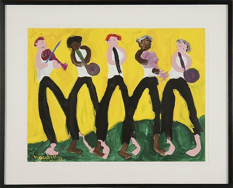 WOODIE LONG, American, 1942-2009, Five-man band,, Oil on paper, 17½