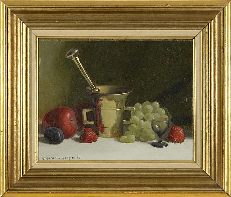 HERBERT E. ABRAMS, American, 1921-2003, Still life with mortar, pestle and fruit., Oil on masonite, 11