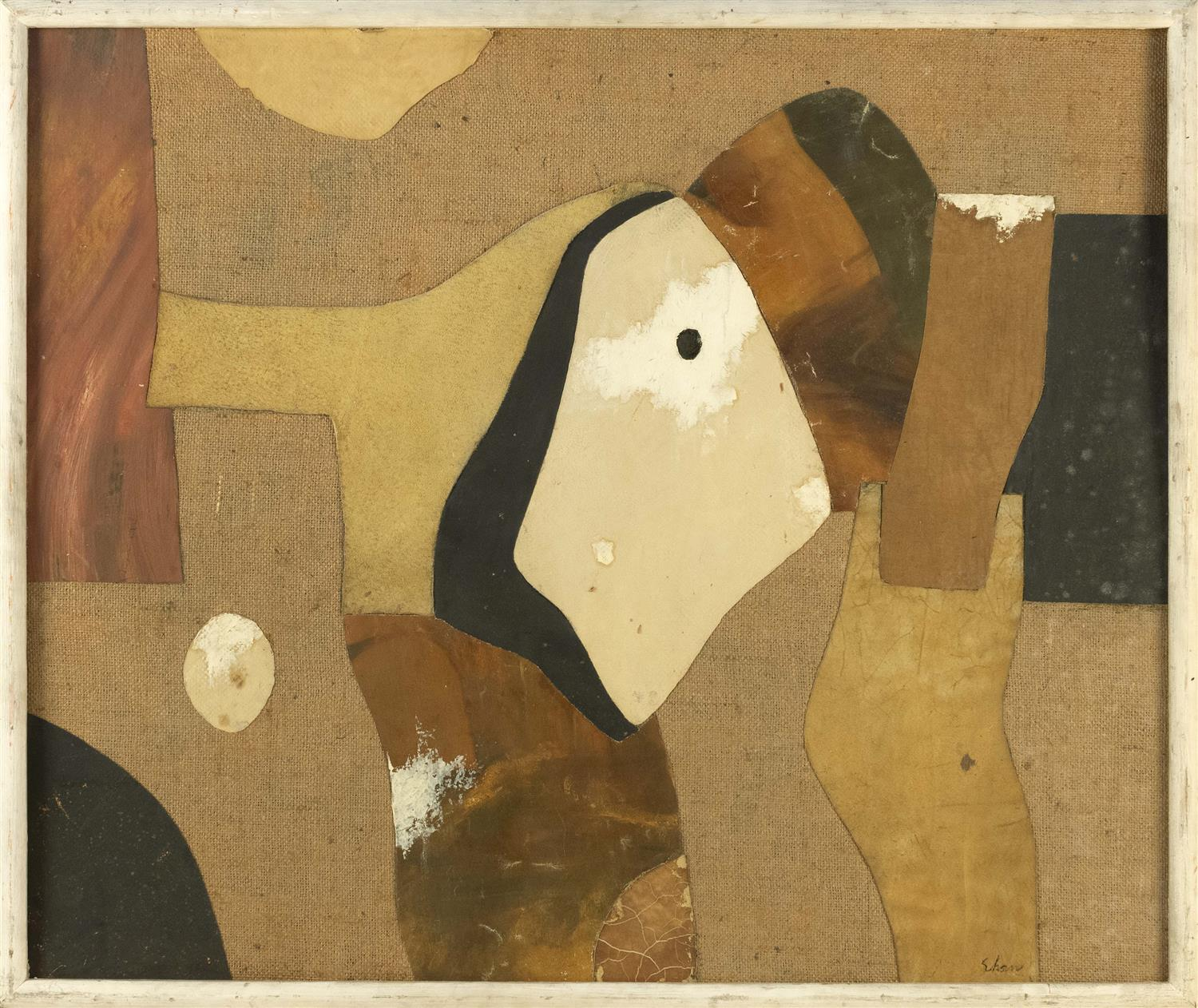 "CHARLES GREEN SHAW, New York, 1892-1974, ""Paleolithic Flux 1955""., Mixed media with burlap on board, 30"" x 36"". Framed 32"" x 38""."