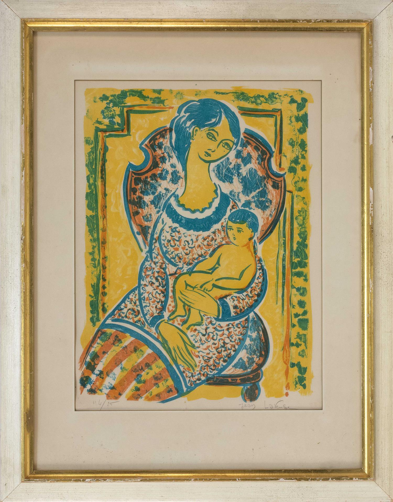 "JEAN LAREUSE, France, b. 1925, Mother and child., Lithograph on paper, 19"" x 14"" sight. Framed 29"" x 23""."
