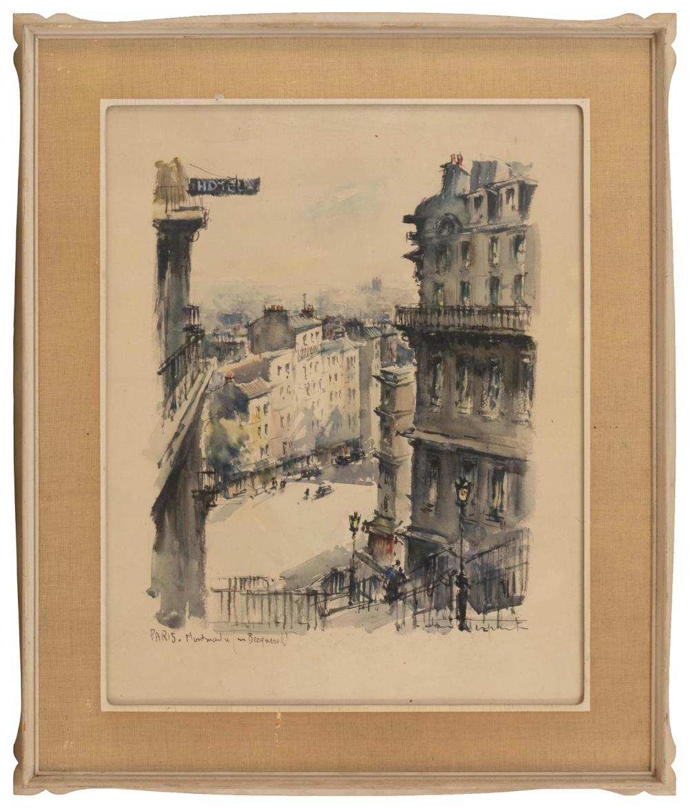 """FRENCH SCHOOL, First Half of the 20th Century, """"Paris, Montmartre (Rue Becquerel)""""., Watercolor on paper, 20"""" x 16"""". Framed 26"""" x 21..."""
