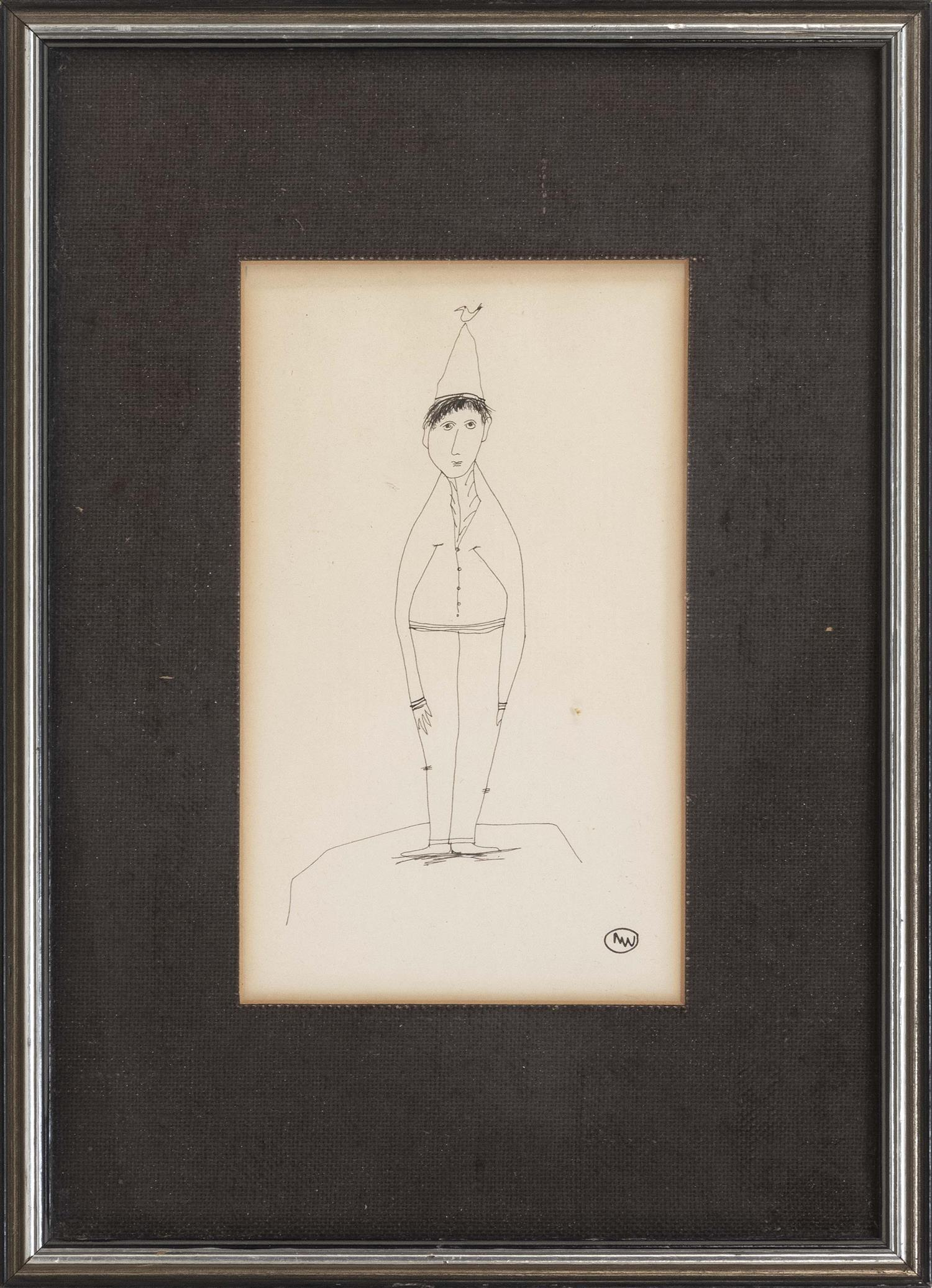 """PEN AND INK CARTOON OF A BOY WEARING A DUNCE CAP Bird perched upon the boy's cap. Encircled monogram lower right """"MW"""". On paper, 7.2.."""