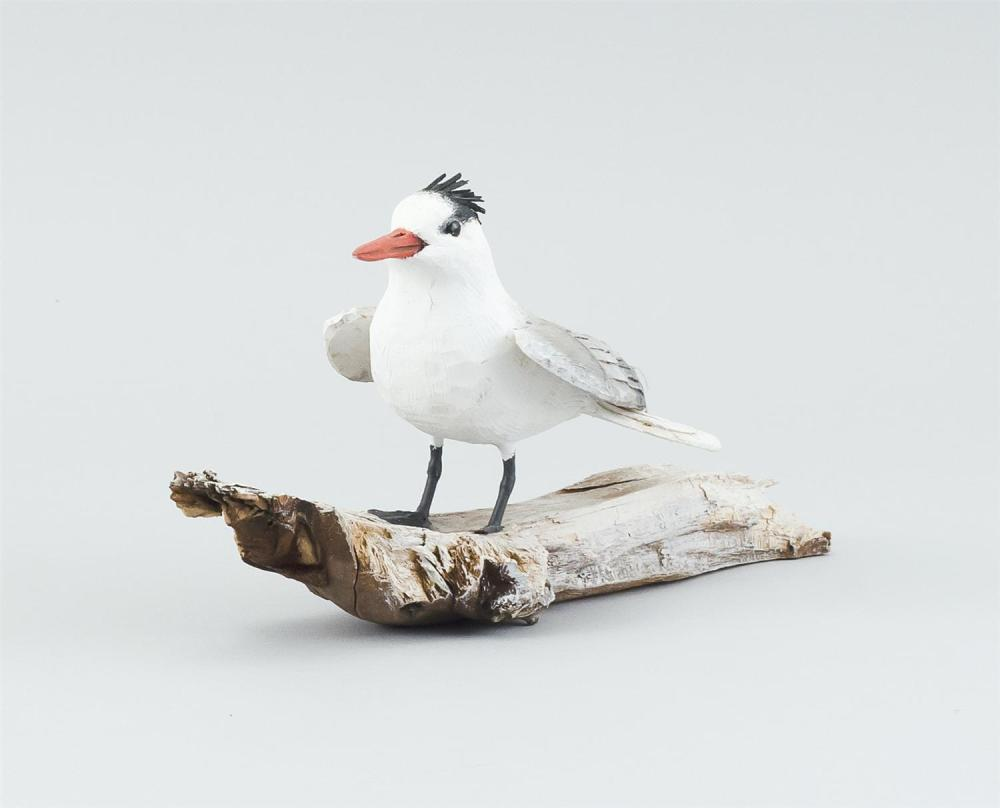 "STAN SPARRE MINIATURE ROYAL TERN Mounted on a driftwood base. Signed ""Star Sparre Cape Cod"" on base. Height 4"". Length 9.5""."