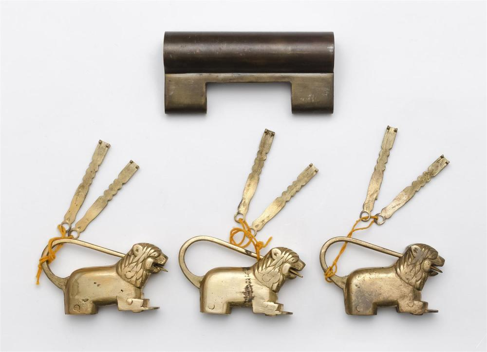 THREE CHINESE/INDIAN FIGURAL BRASS LOCKS Together with a large brass lock, no key. Length 4.5