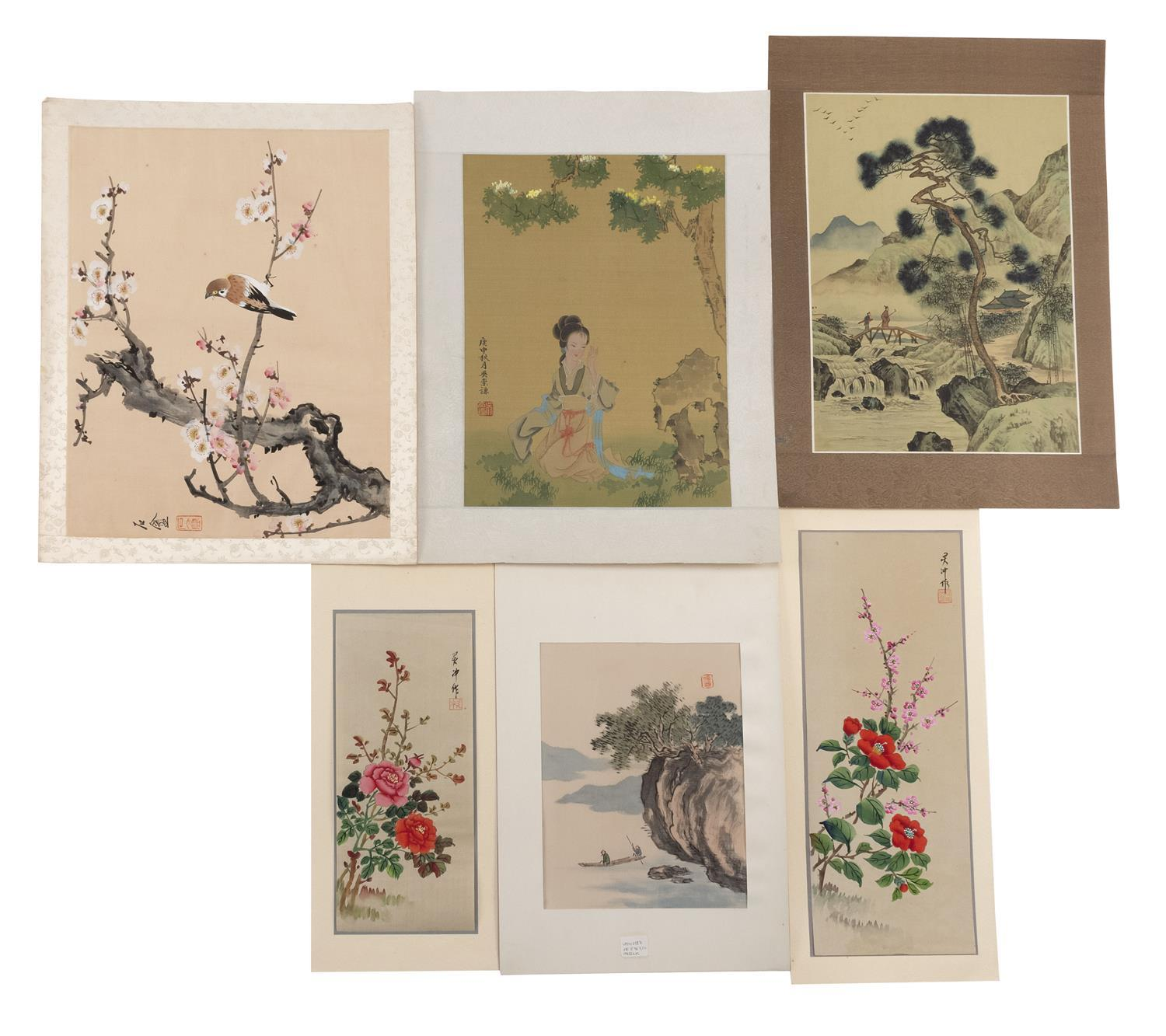 SIX ASIAN PAINTINGS 1) Two boatmen. 2-3) Two works depicting roses. 4) Two figures crossing a bridge. 5) Birds and prunus. 6) A woma...