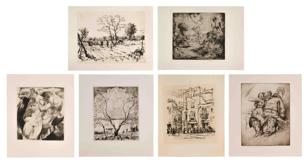 SIX GERMAN AND AUSTRIAN ETCHINGS All unframed. 1)