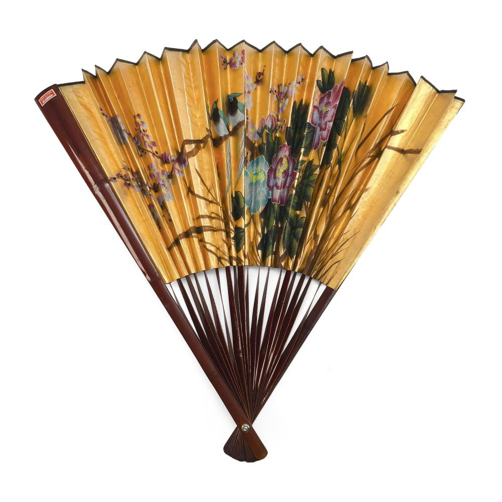OVERSIZED LACQUER AND GOLD PAPER FOLDING FAN Gold leaf beautifully painted with kingfisher in cherry branches. Deep red lacquer stic...