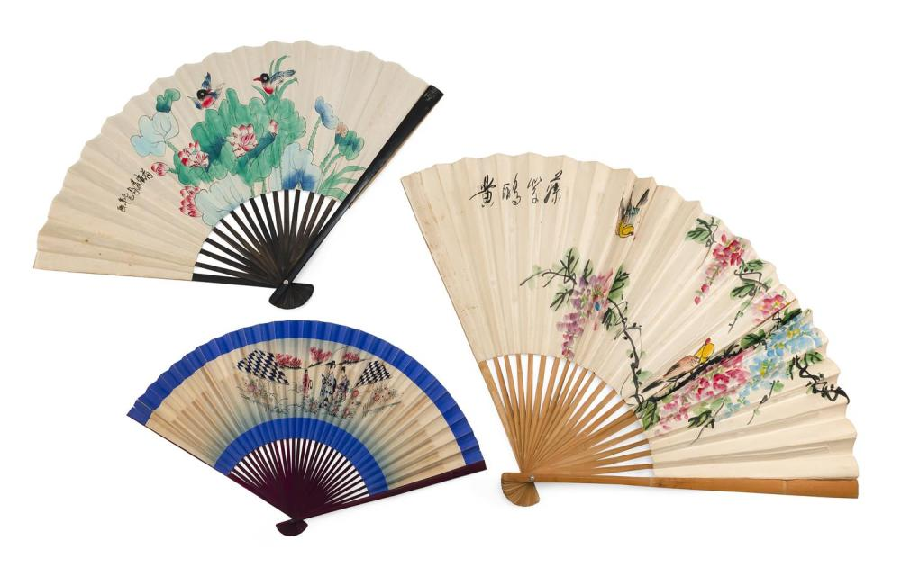 """THREE UNUSUALLY LARGE PAINTED PAPER AND WOOD ASIAN FOLDING FANS 1) Depicts songbirds in wisteria. Length 30"""". 2) Depicts songbirds a..."""