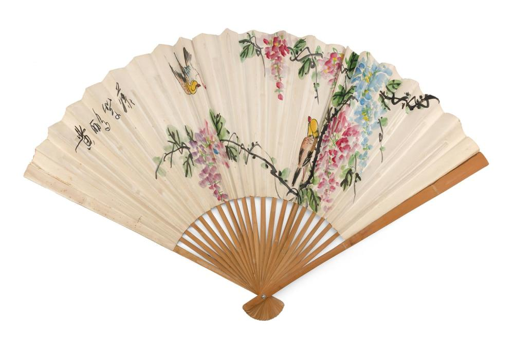 THREE UNUSUALLY LARGE PAINTED PAPER AND WOOD ASIAN FOLDING FANS 1) Depicts songbirds in wisteria. Length 30