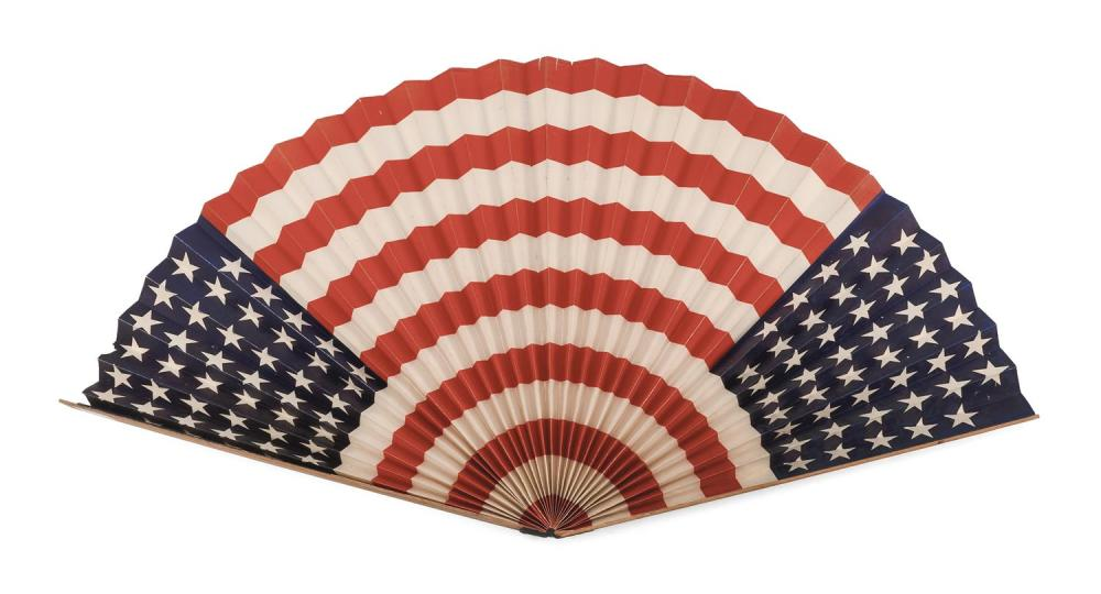 "OVERSIZED 45-STAR ""AMERICAN FLAG"" FOLDING FAN Primitively made, with a paper leaf glued to two wooden ends similar to yardsticks. Le..."