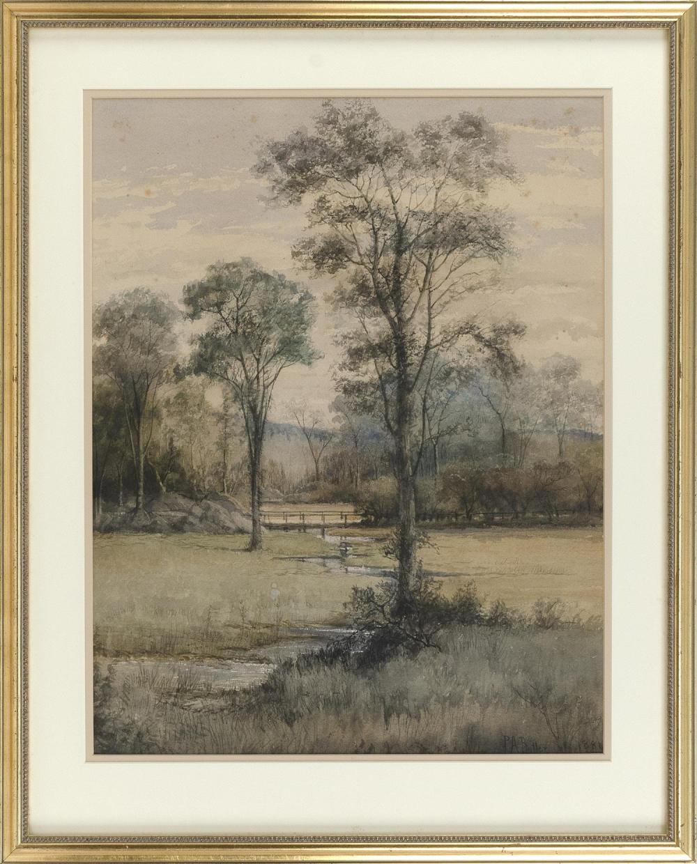 """AMERICAN SCHOOL, 19th Century, A bridge over a creek., Watercolor on paper, 22.25"""" x 17.75"""". Framed 29.5"""" x 23.5""""."""