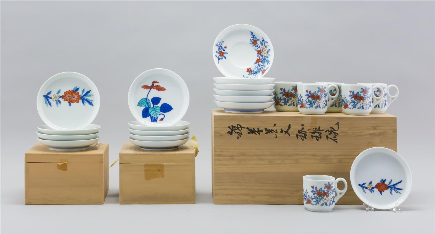 "SIXTEEN PIECES OF JAPANESE IRO-NABESHIMA PORCELAIN BY INAEMON Includes one 4.5"" dishes, nine 5"" dishes, and six demitasse cups and s..."