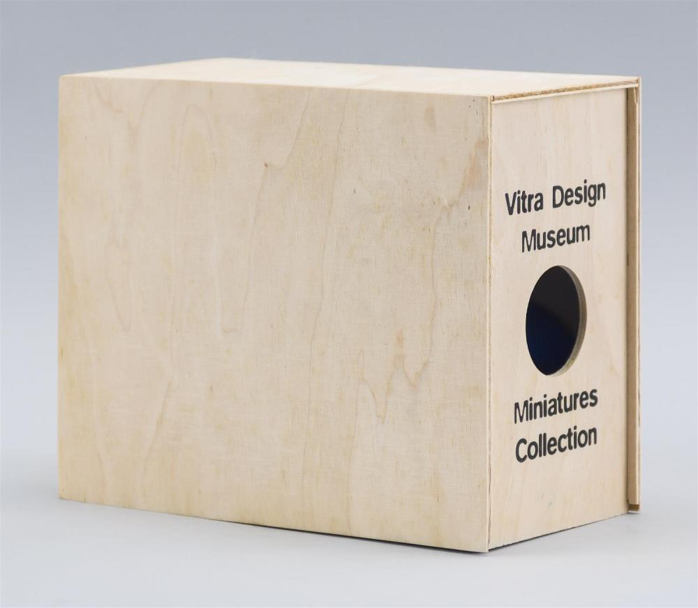 VITRA DESIGN MUSEUM MINIATURES COLLECTION Boxed set of five plastic Panton Chairs, 1959/60, in yellow, white, black, red and blue. C...