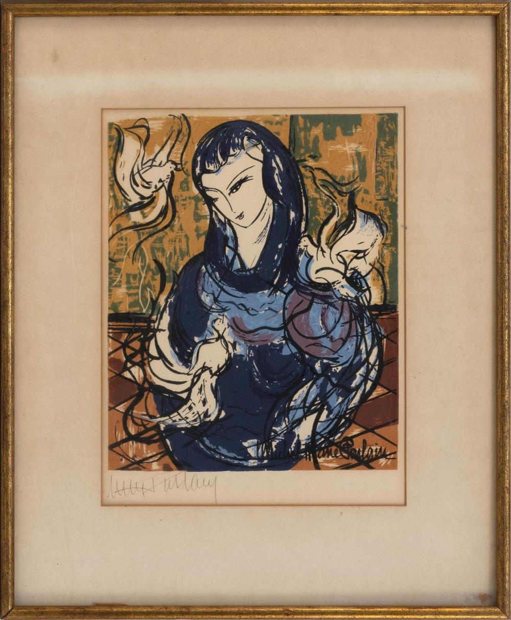 "MICHEL-MARIE POULAIN, France, 1906-1991, Woman with doves., Silkscreen on paper, 10"" x 8.5"". Framed 18.5"" x 15""."