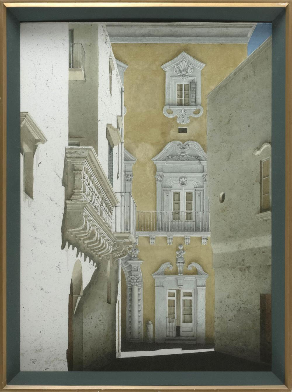 "ROBERT BANKS, United Kingdom, b. 1911, ""Palazzo Senape Gallipoli""., Watercolor and gouache on paper, 26.5"" x 19"" sight. Framed 30.25..."