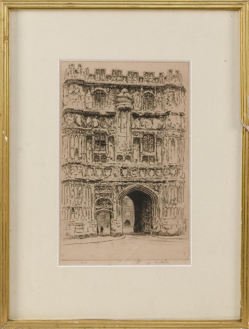 """KERR EBY, United States, 1889-1946, A cathedral., Etching on paper, 11"""" x 7"""" sight. Framed 18"""" x 13""""."""