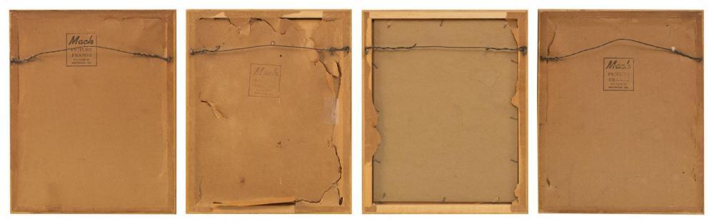 FOUR PAUL JACOULET CHRISTMAS CARDS 1) Souvenirs d'autrefois. 2) Le Bonze Errant. 3) Le Bossu. 4) Le Nid. Some toning and fading. Not..
