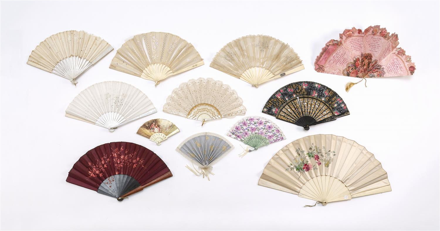 """TWELVE VICTORIAN AND OTHER FOLDING FANS 1) Fan with white lace, sequins and impressed mother-of-pearl. Length 8"""". 2) Child's plastic.."""
