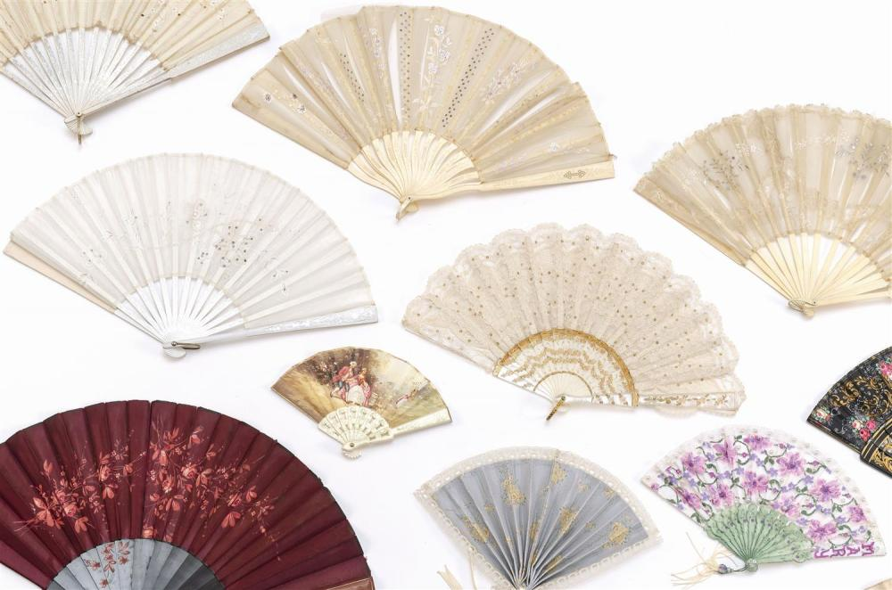 TWELVE VICTORIAN AND OTHER FOLDING FANS 1) Fan with white lace, sequins and impressed mother-of-pearl. Length 8